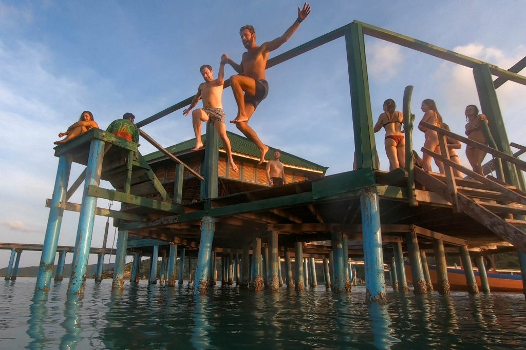 Jumping Off of Pier at Mad Monkey Koh Rong Samloem
